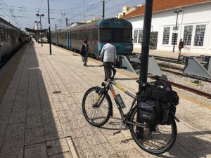 Waiting for the train at Faro station